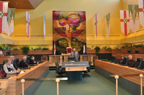 The beautiful tapestry behind the chair of the Speaker in the Yukon Legislature reflects the stunning colours of the territory.