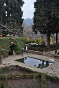 Alhambra pools, placid, reflective.