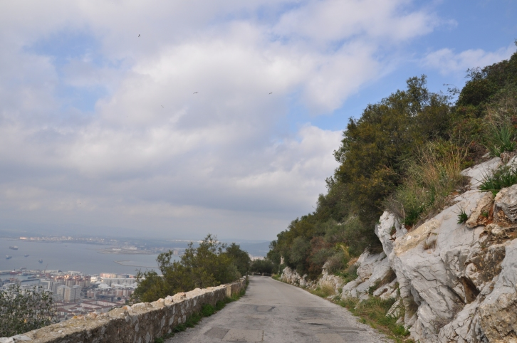 The narrow road down Gibraltar, the rock.