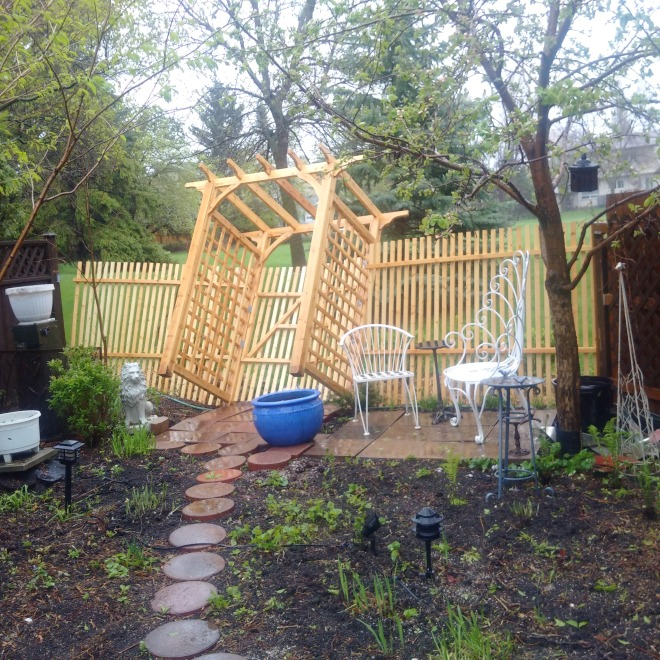 The 80 kmh winds blew the new gazebo off its pins and  pulled the fence away from its post.